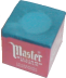 A cube of blue chalk with a paper wrapper on all sides but one; a rounded indentation appears at the top where a cue would be chalked