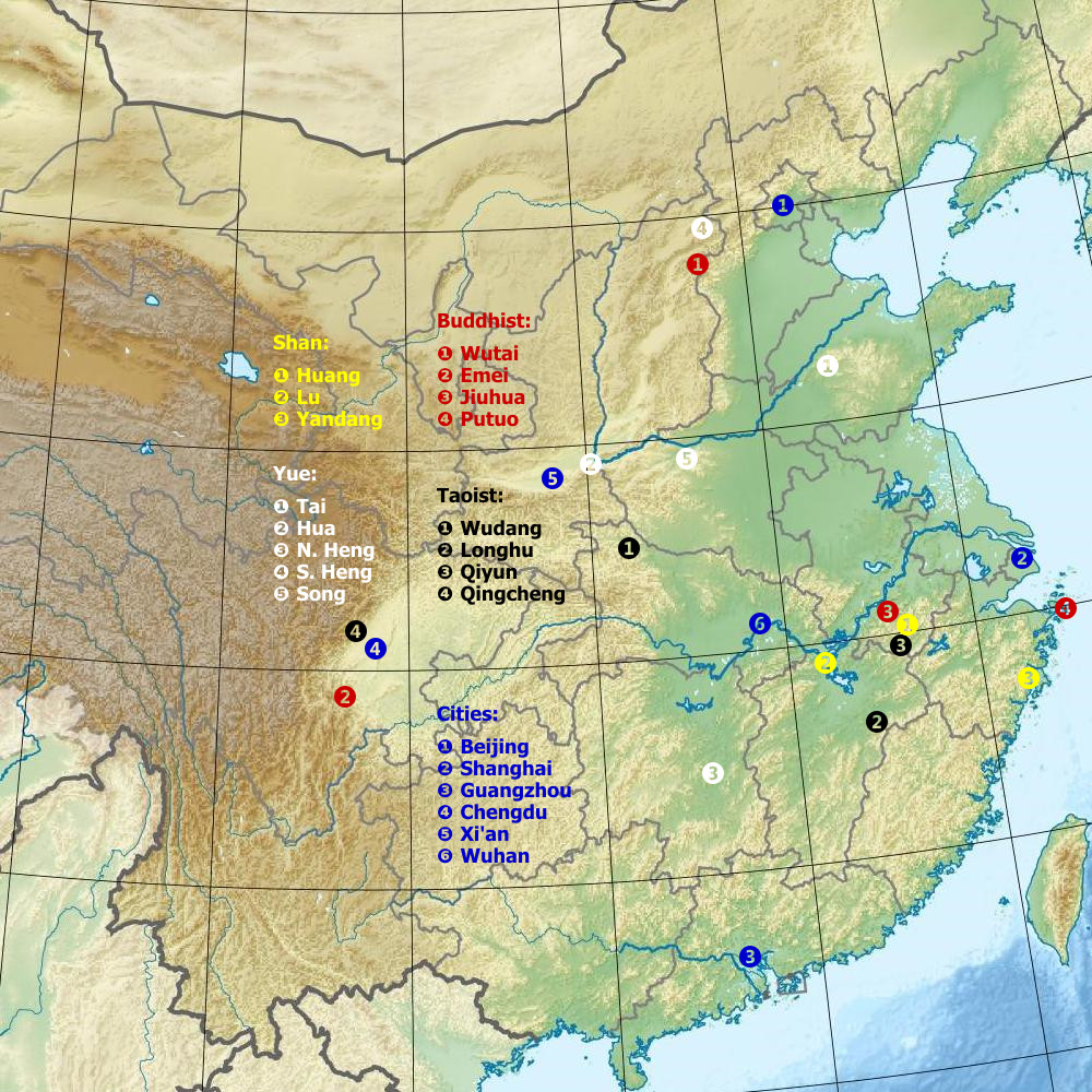Map of the great mountains of China