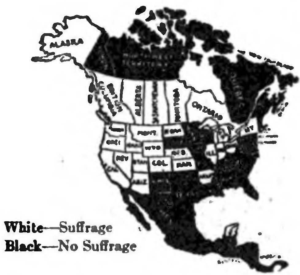 A map of North America, with white regions having female suffrage and black regions not