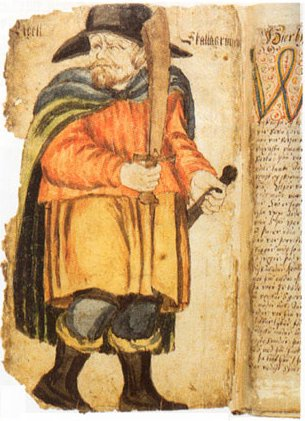 Picture of Egill in a 17th-century manuscript of Egils Saga. Egil Skallagrimsson 17c manuscript.jpg