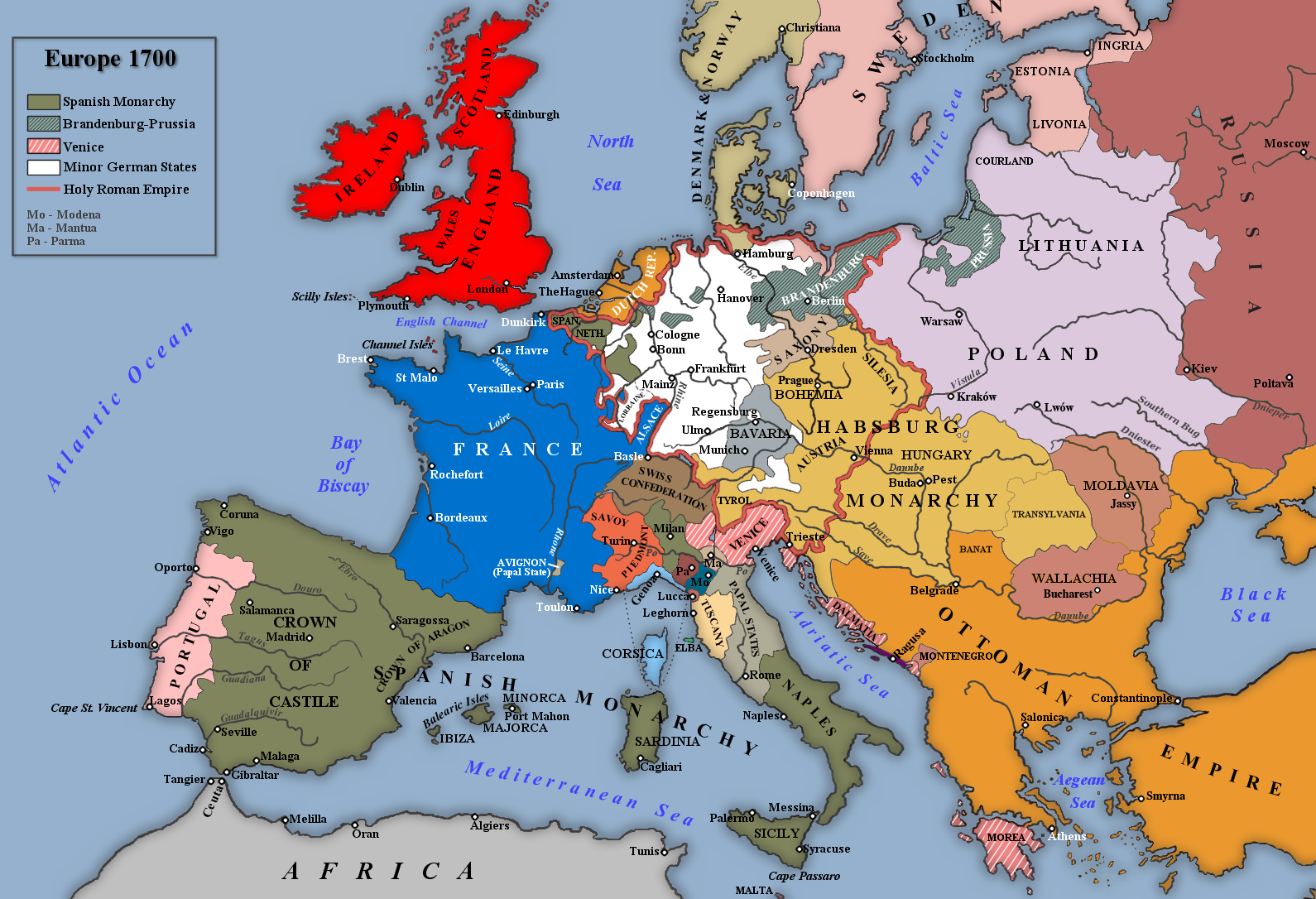 map of europe 1700 File:Europe, 1700—1714.png   Wikimedia Commons