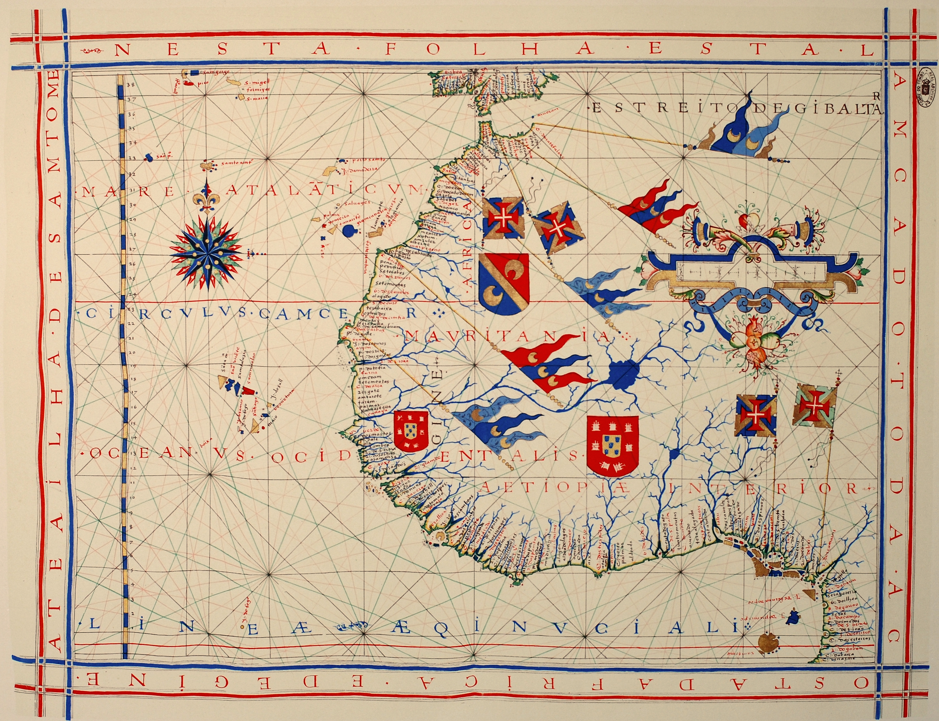 A pre-Mercator nautical chart of 1571, from Portuguese cartographer Fernão Vaz Dourado (c. 1520\u2013c. 1580). It belongs to the so-called plane chart model, ...