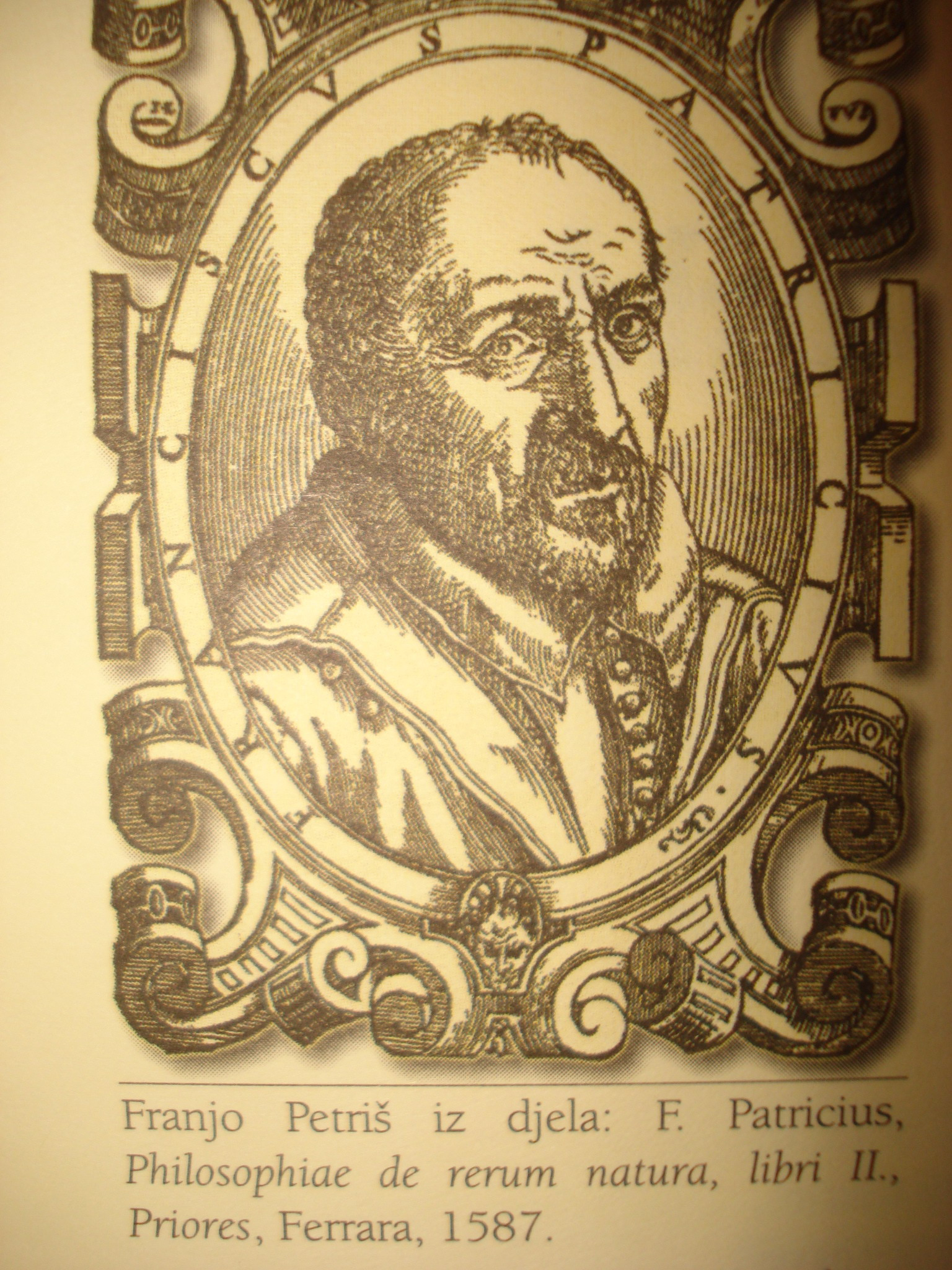 Portrait of Franjo Petriš from his book ''Philosophiae de rerum natura'', vol. II, published in Ferrara in 1587