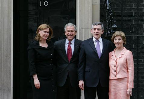 Gordon Brown and President of the United States George W. Bush meet at Downing Street George W. and Laura Bush + Gordon and Sarah Brown 2008.jpg