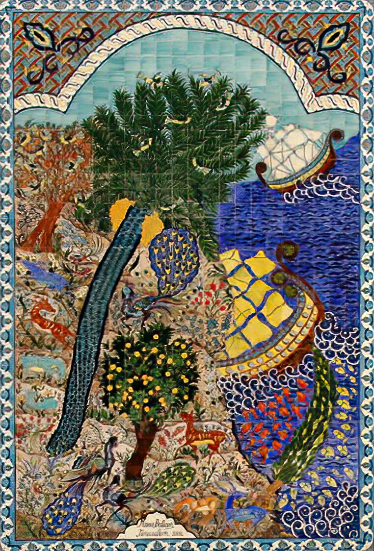 """""""רזי גן עדן"""", עבודת קרמיקה של האמנית הארמנית מרי בליאן בירושלים (מקור: ויקימדיה)"""