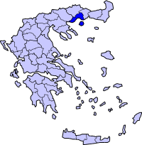 Location of Kavala Prefecture in Greece