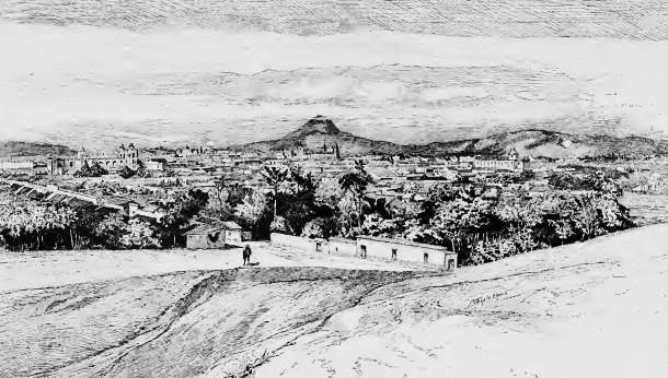 Vista de la ciudad de Guatemala en la década de 1880. Guatemala, Land of Quetzal.
