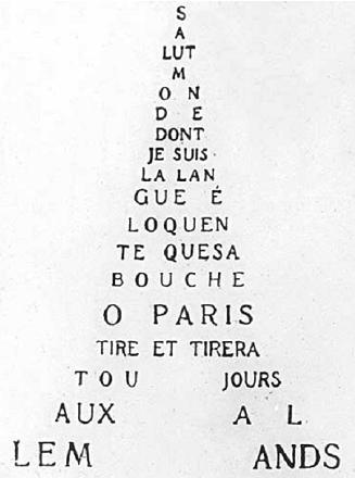 Poem from Calligrammes by Guillaume Apollinaire
