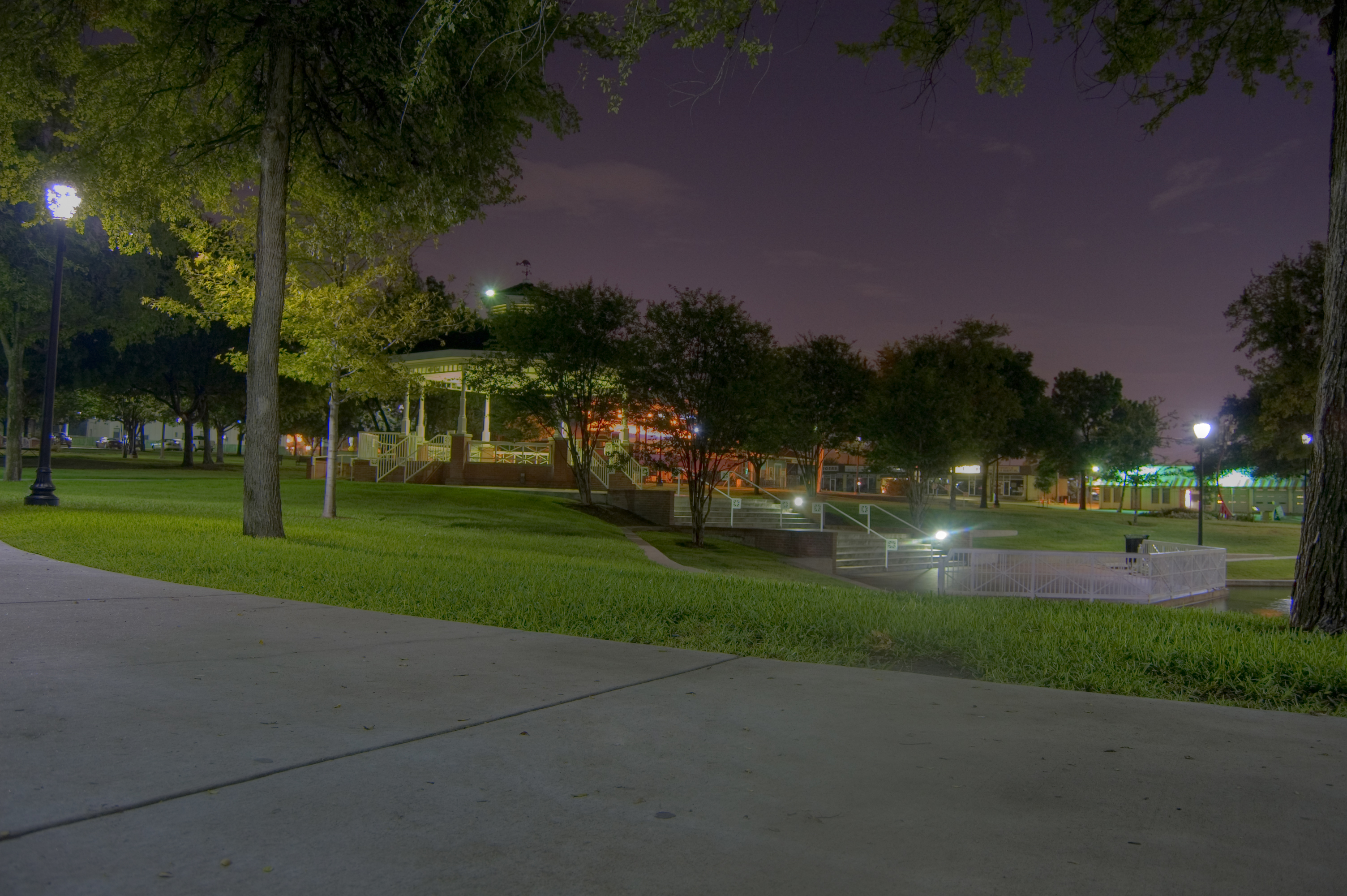 Plano Texas park at night