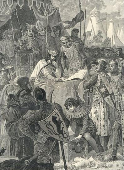 King John signs Magna Carta at Runnymede in 1215, surrounded by his baronage. Illustration from Cassell's History of England, 1902. Joao sem terra assina carta Magna.jpg