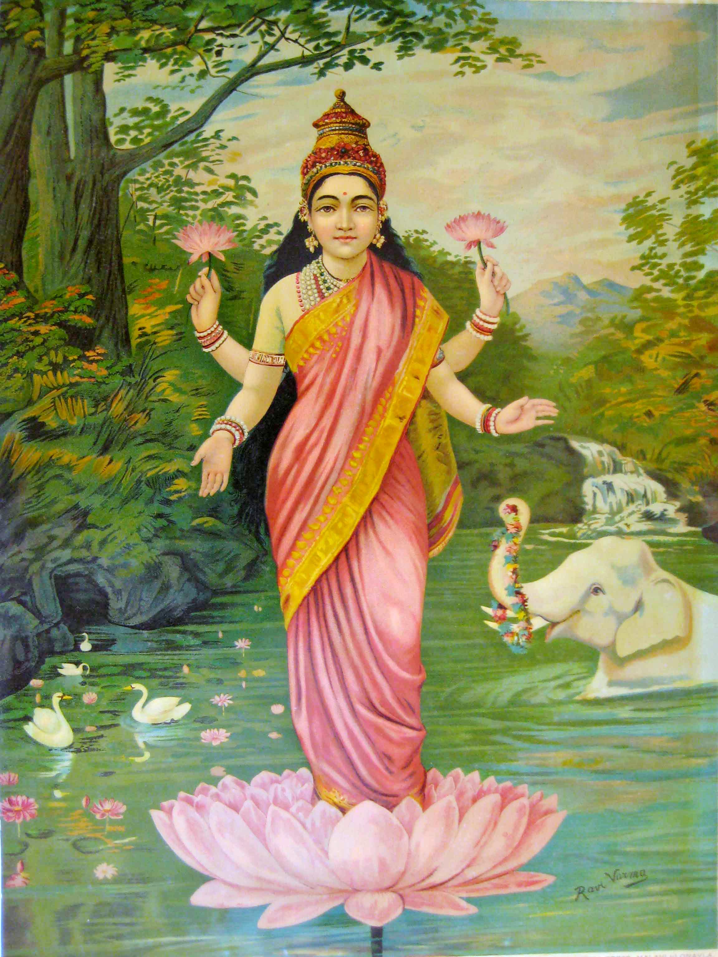 Hindu Calendar Art : File lakshmi by raja ravi varma g wikimedia commons