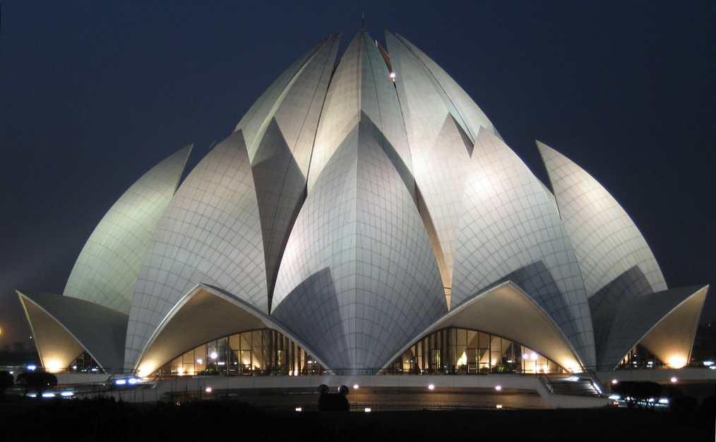 intersesting flower like building lotus temple in new