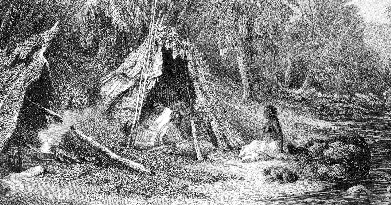 A 19th-century engraving of an indigenous Australian encampment, representing the Indigenous mode of life in the cooler parts of Australia before the ...
