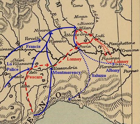 The French advance into Lombardy and the Pavia campaign of 1524-25. French movements are indicated in blue and Imperial movements in red. Pavia campaign (1524-25).png