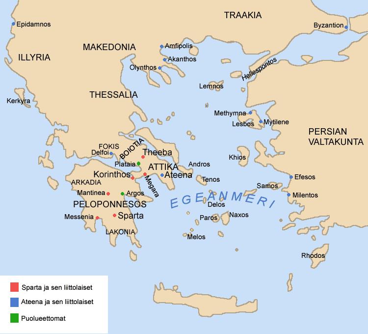 Karta Aten Grekland.Sparta Historia So Rummet