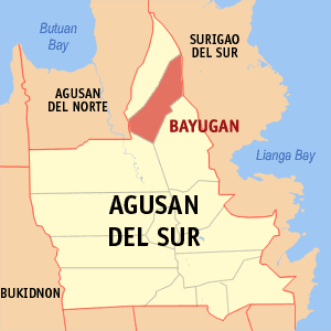 Map of Agusan del Sur showing the location of Bayugan