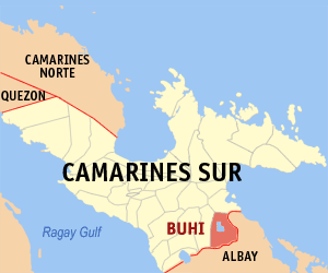 Map of Camarines Sur showing the location of Buhi