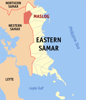 Map of Eastern Samar showing the location of Maslog
