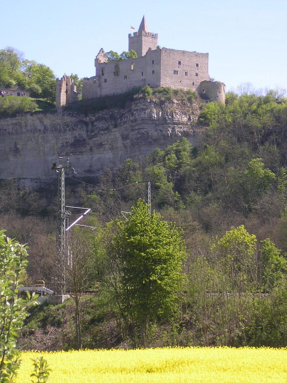 Blick vom Saaletal hinauf zur Burg