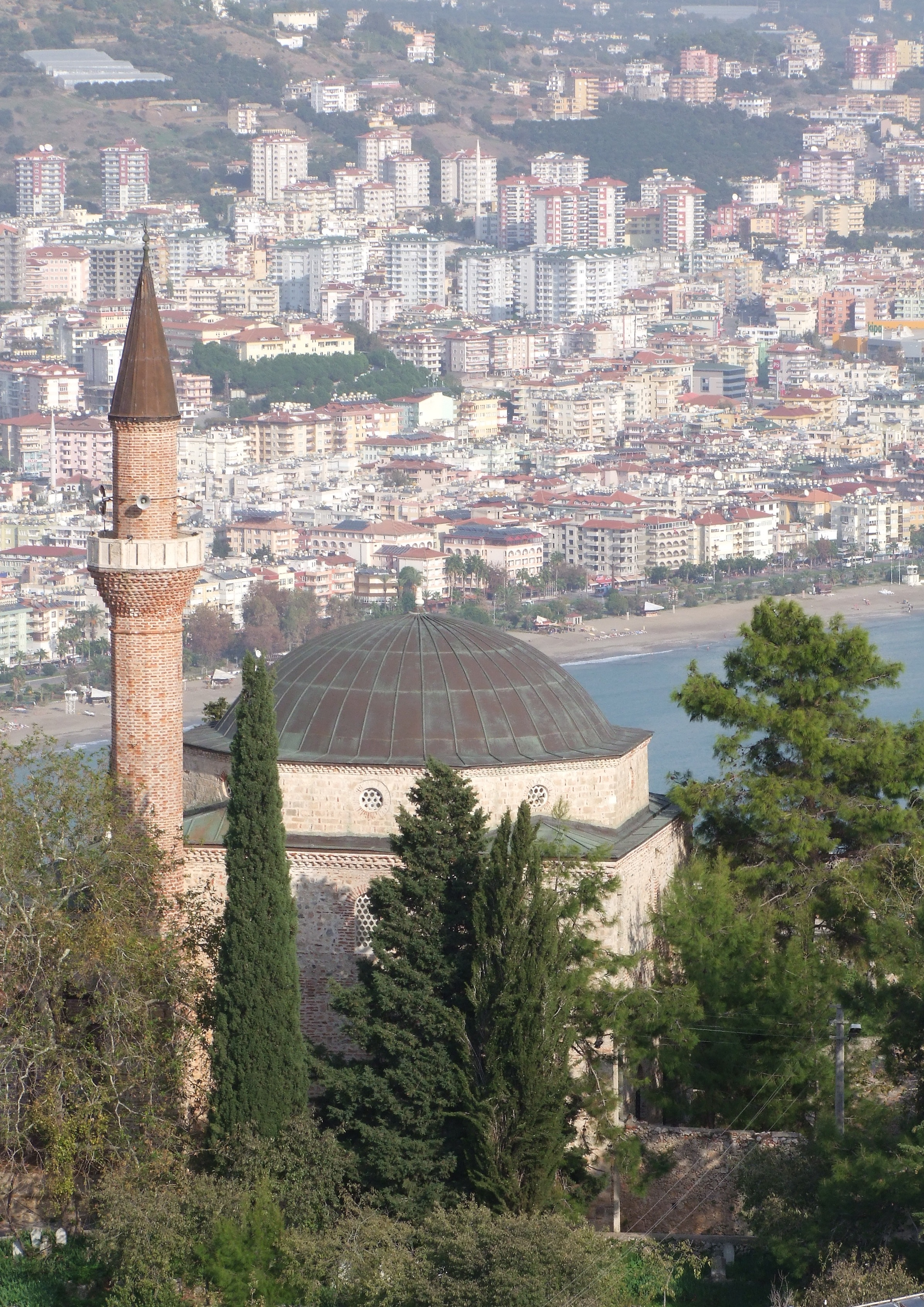 File:Süleyman Mosque as seen from Alanya Castle Hill ...