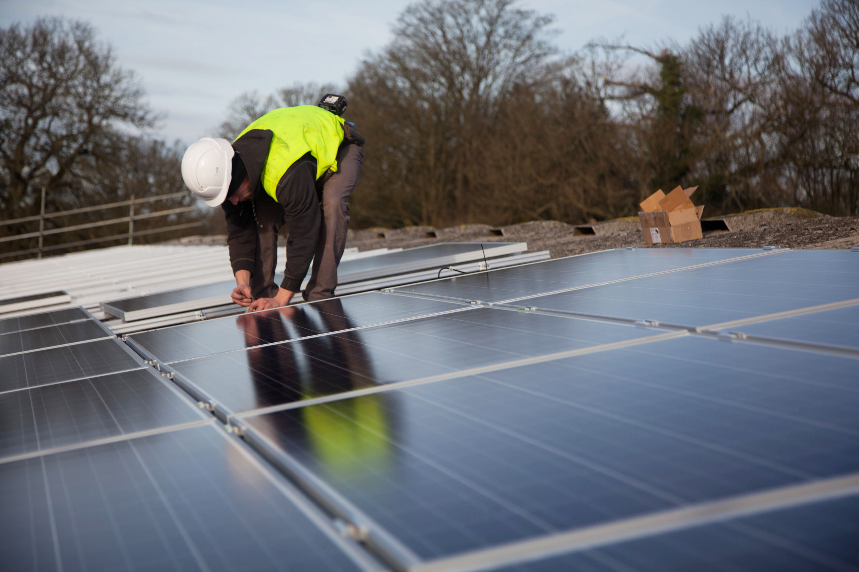 File:Solar panel installation at Grange farm.jpg - Wikimedia Commons