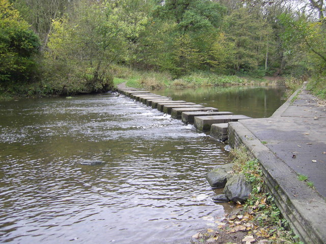 Stepping stones, Humford Mill - geograph.org.uk - 273687