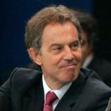 British Prime Minister Tony Blair at a work se...