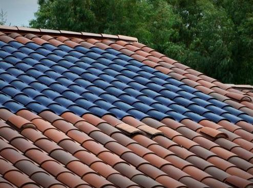 Triple junction amorphous photovoltaic tiles