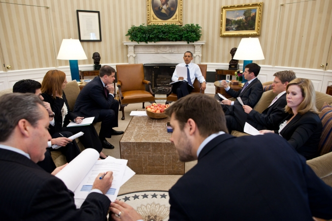 President Obama conducts a White House staff meeting