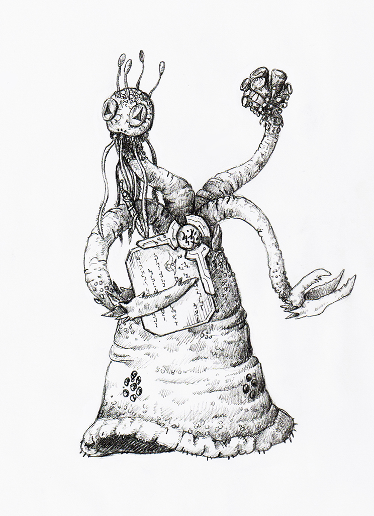 A member of the great race of Yith, with a conical body from whose apex issue two claws, a megaphone-like apparatus, and a tentacle-laden head.