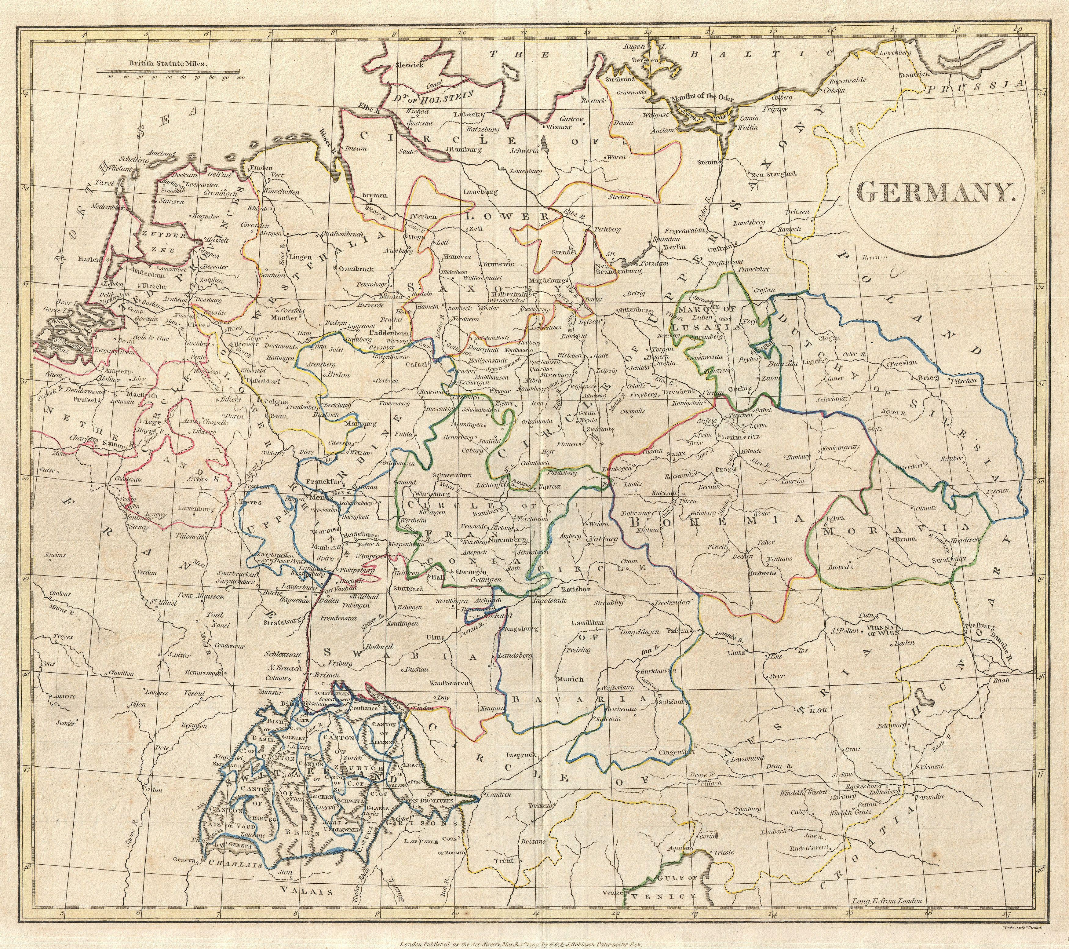 Map Of Germany And Switzerland.File 1799 Celement Cruttwell Map Of Germany Geographicus