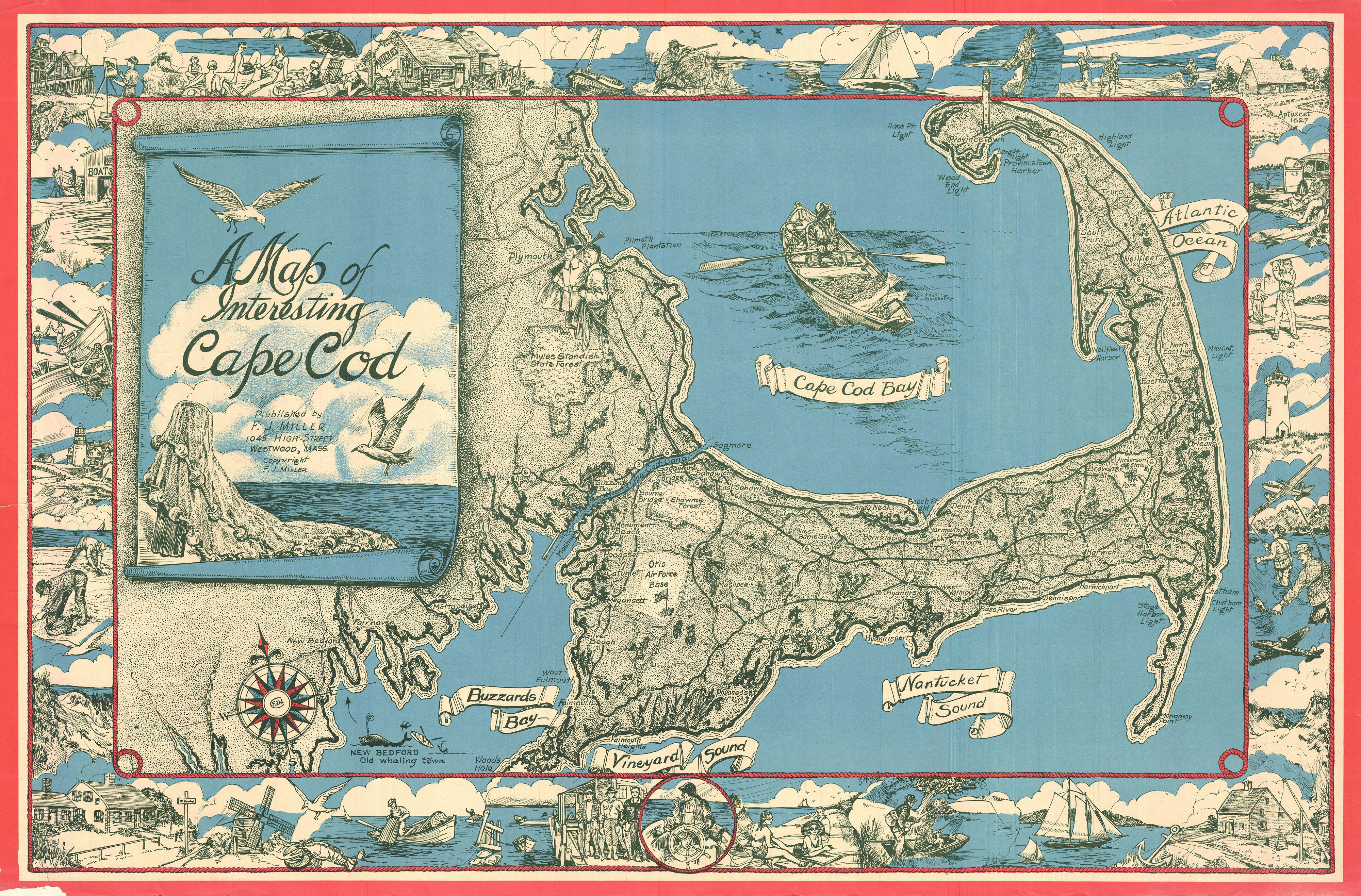 File 1945 Miller Map Of Cape Cod Massachusetts Geographicus Capecod Miller 1945 Jpg