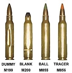 A collection of 5.56mm caliber ammunition. Ima...