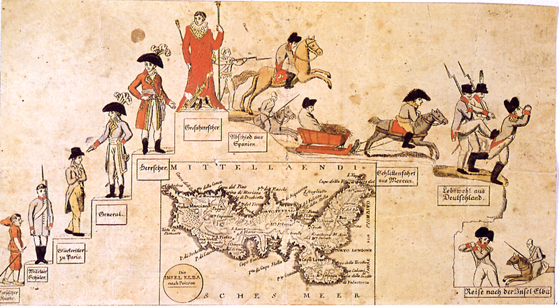 """The Rise and Fall of Napoleon"", a cartoon drawn by Johann Michael Voltz following the Treaty of Fontainebleau; on the lower side is seen the map of Elba. Aufstieg-und-Niederfall-Napoleons.png"