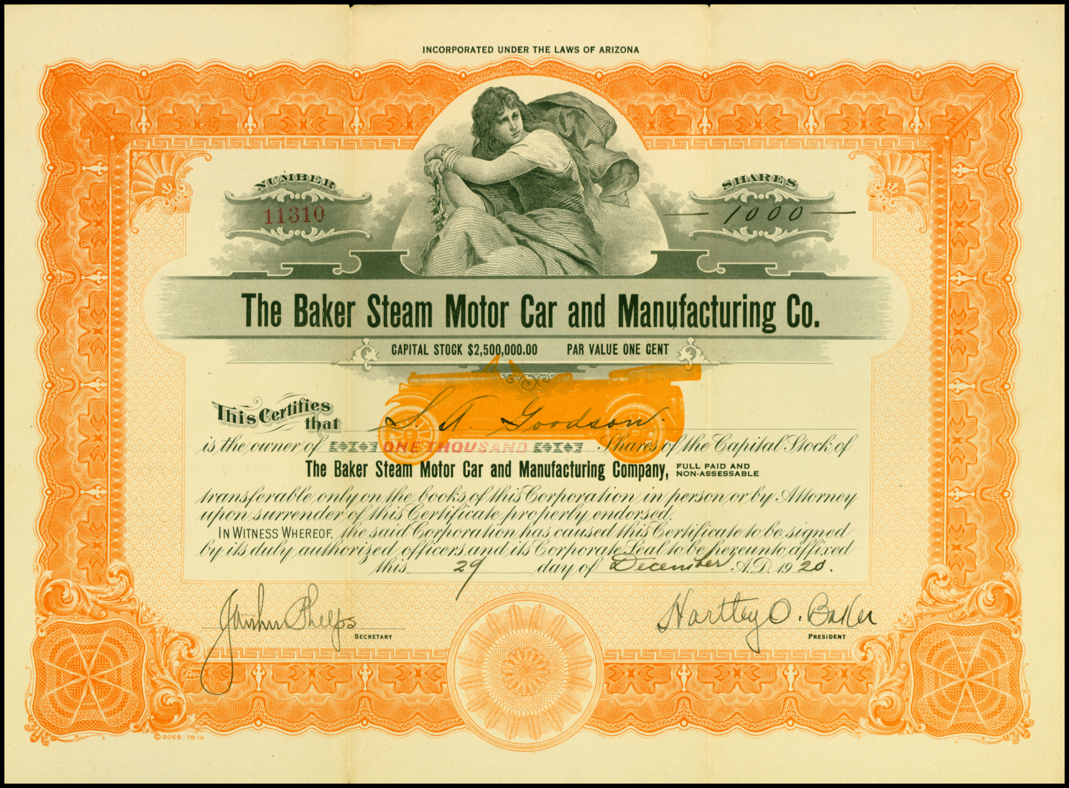 York Lincoln-Mercury Company Stock Certificate Pennsylvania Automobile