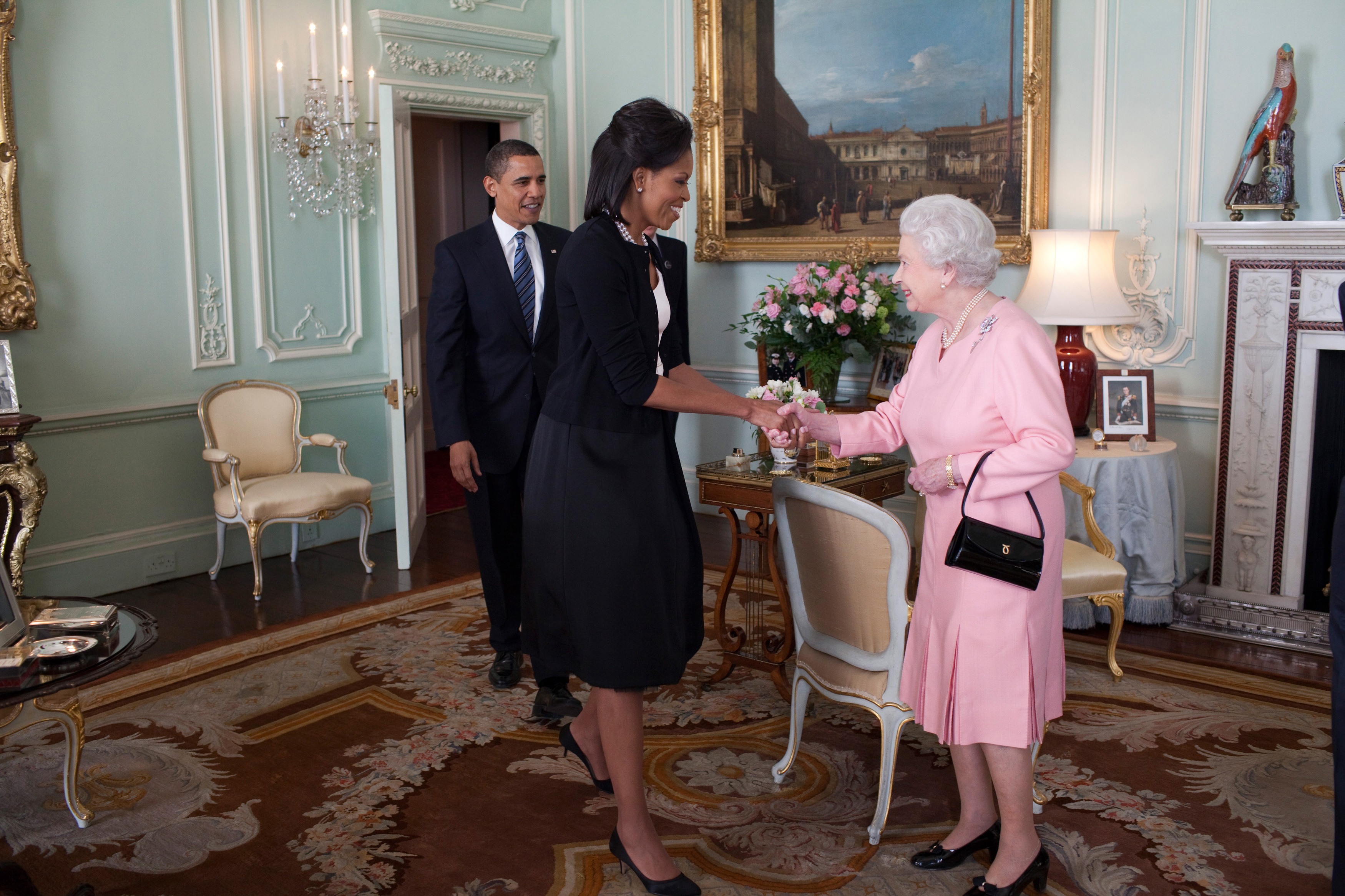 File:Barack Obama Michelle Obama Queen Elizabeth II Buckingham Palace ...