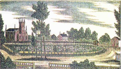 An 1835 engraving by Barber showing the North Haven (Connecticut) Green