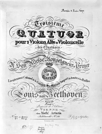 Portada de la primera edición de Artaria del <em>Cuarteto de cuerda n.º&nbsp;13</em> (Op.&nbsp;130).