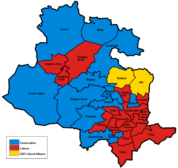 Map of the results for the 1984 Bradford council election.
