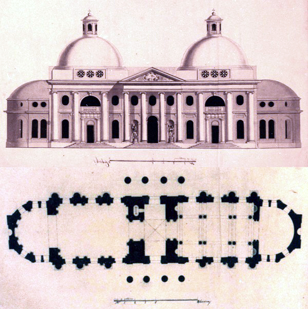 Drawings of the facade and plan for the Lady of Kazan Church, public domain.