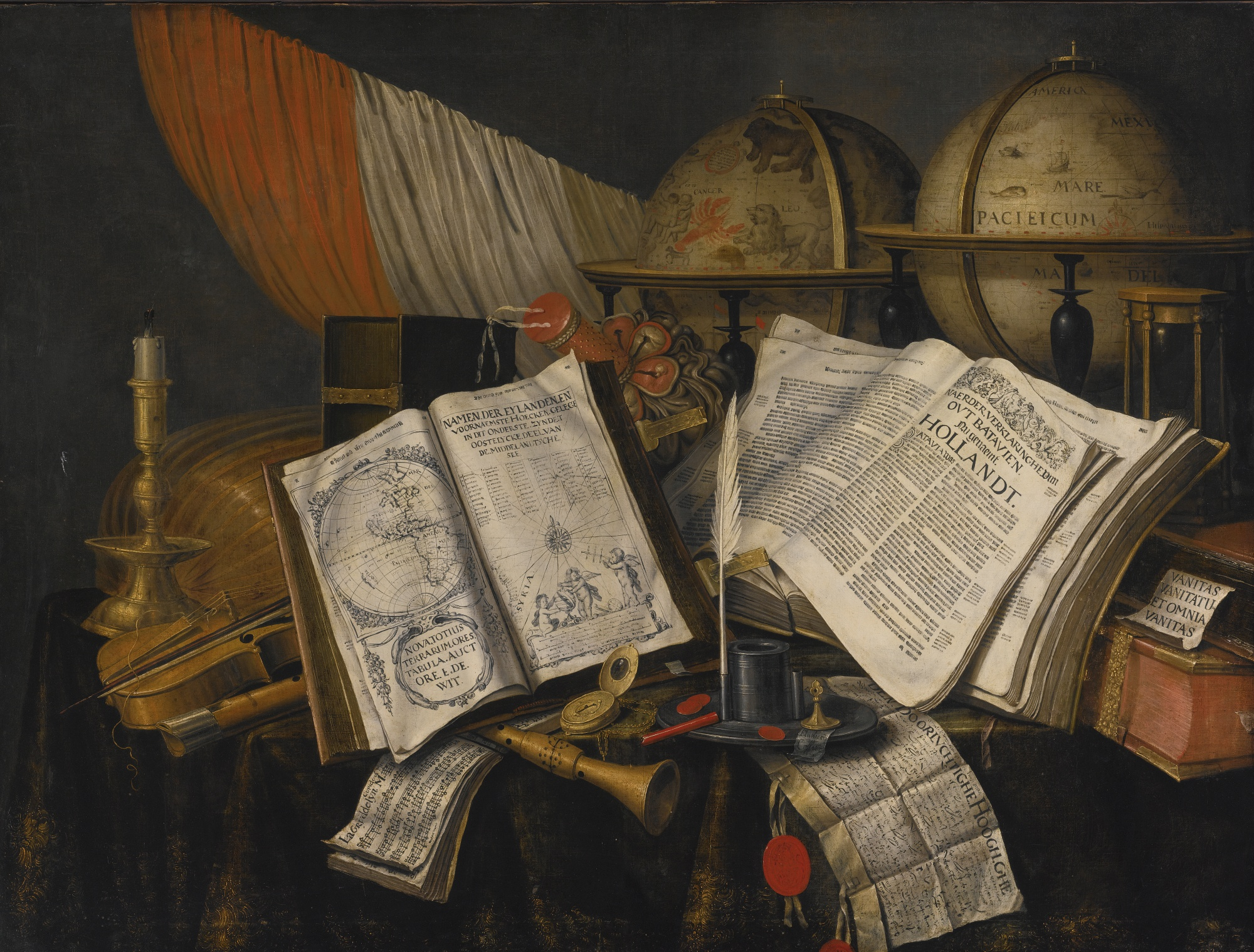 Evert Collier, Vanitas Still Life with a Candlestick, Musical Instruments, Dutch Books, a Writing Set, an Astrological and a Terrestial Globe and an Hourglass, All on a Draped Table, 1662, private collection. Wikimedia Commons (public domain).