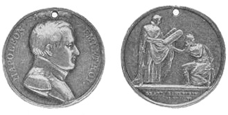 Medallion struck by the Paris mint in commemoration of the Grand Sanhedrin. Frenchsanhedrin2.jpg