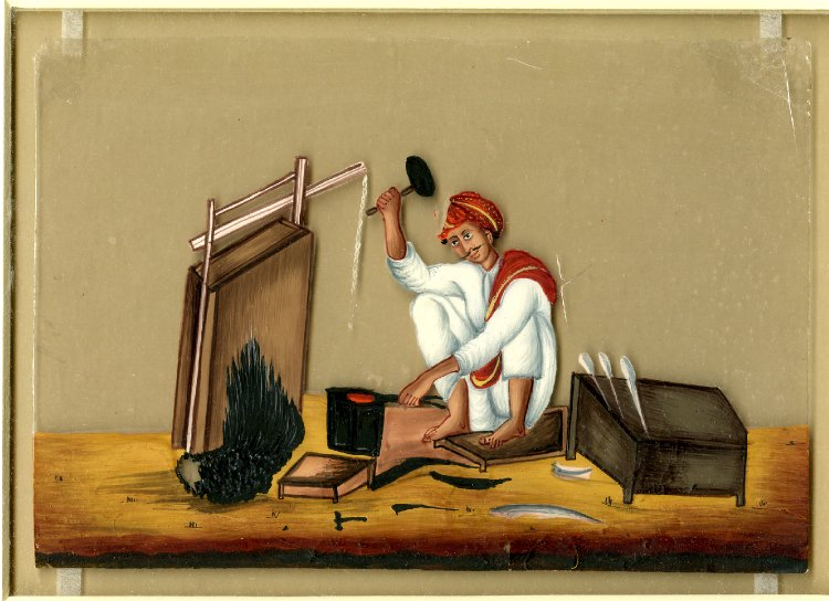 پرونده:Gouache painting on mica of a blacksmith.jpg