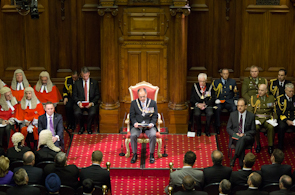 Governor-General Sir Jerry Mateparae reads a speech from the throne at the opening of parliament, 30 April 2013 Governor-general-reads-speech.jpg