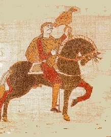 Tapestry image of a man on horseback holding a falcon