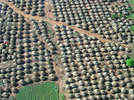 Kitgum IDP camp from the air, Uganda