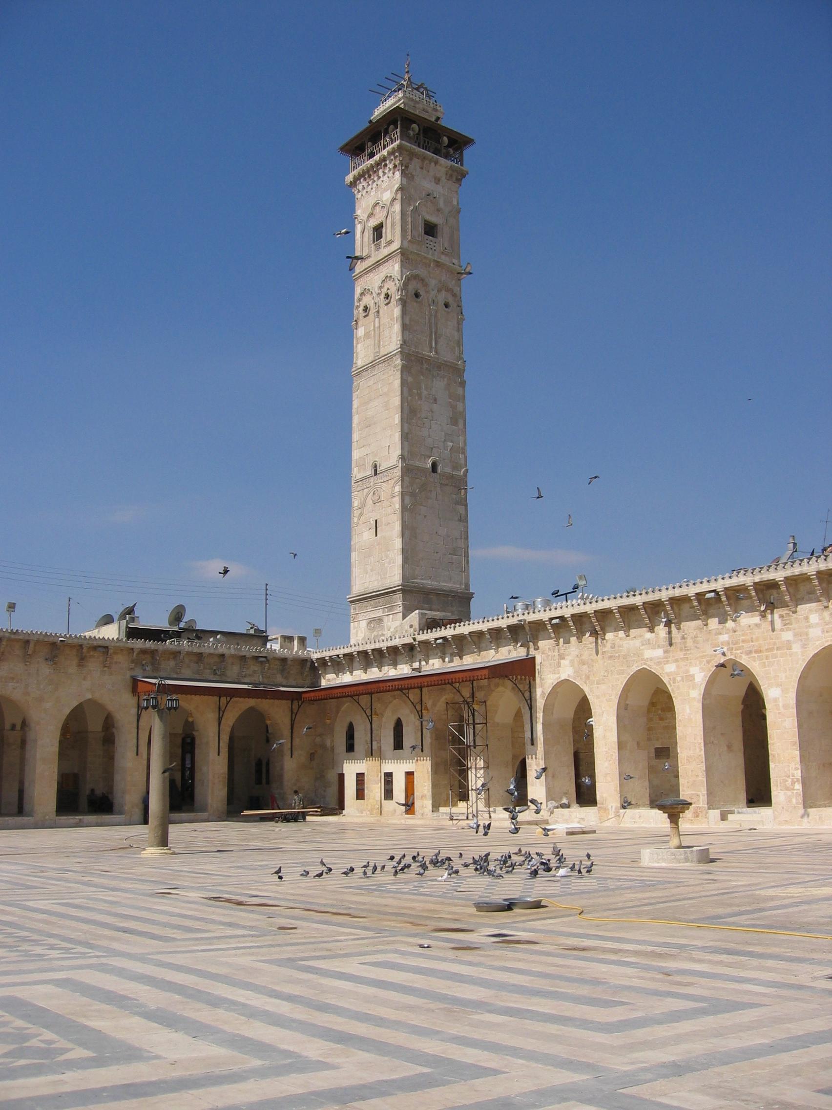 Omayadmoskéns minaret i Aleppo, Syrien