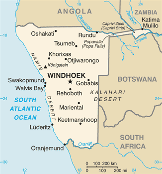 Afrika Namibia_map