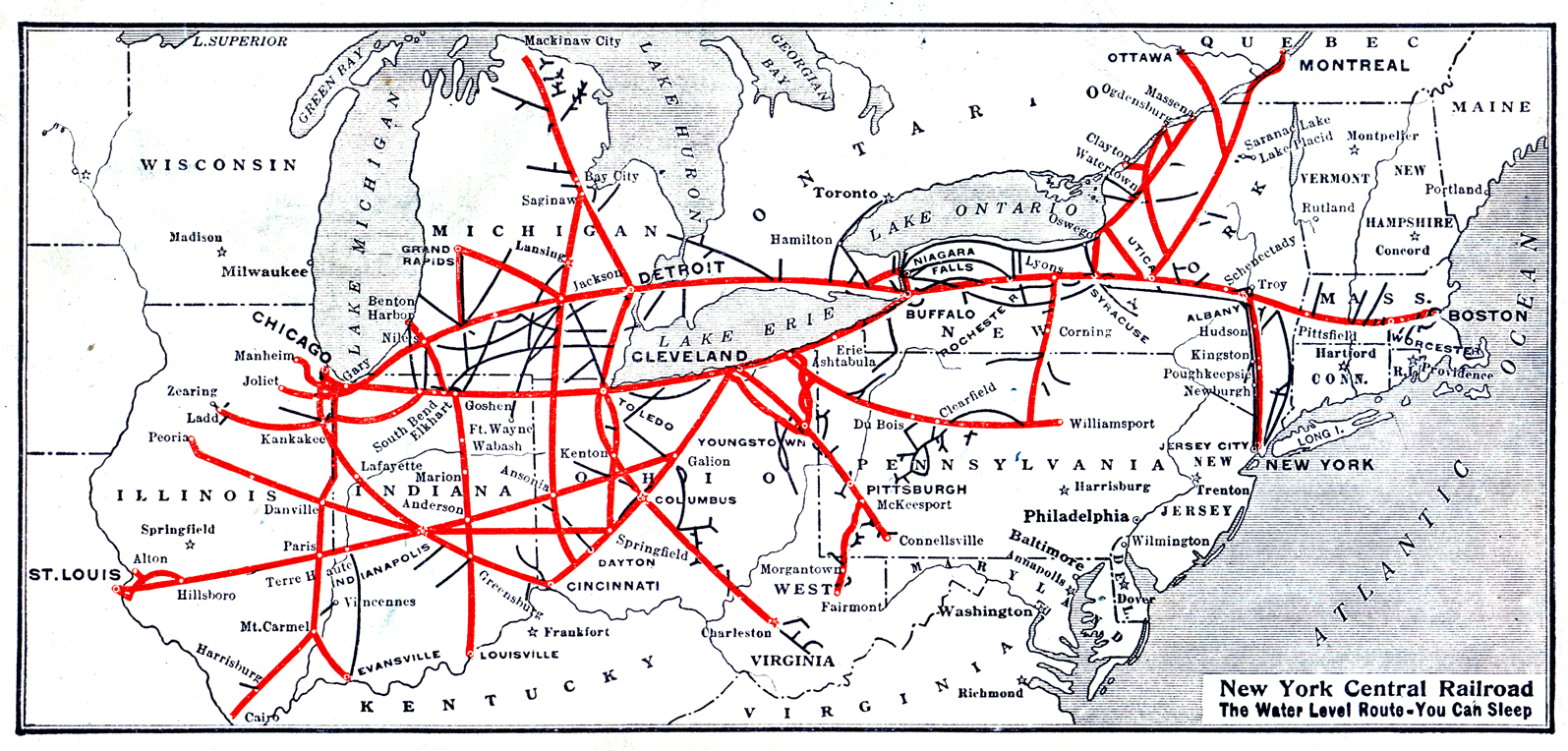 FileNew York Central Railroad System map 1926thjpg Wikimedia Commons