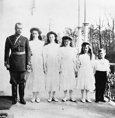 File:Nicholas II with his children on the balcony of the Alexander Palace.jpg